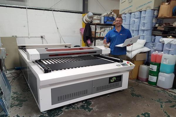 Prototypes can be produced to full scale with this powerful flatbed laser cutter.