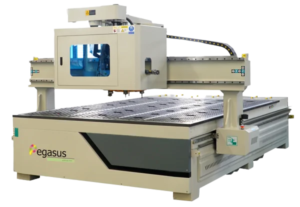 Heavy-duty precision CNC routing machines with 12 piece automatic tool change carousel system.